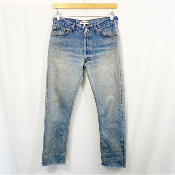 RE/DONE Levi's Relaxed Crop Stone Wash Denim Jeans